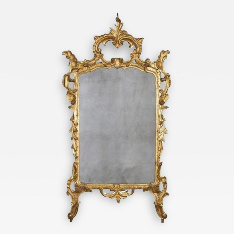 Italian Rococo Carved Gilt Wood Mirror