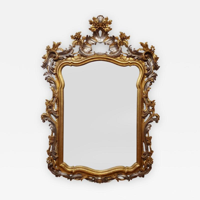Italian Rococo Style Carved Wood Gilded and Silvered Mirror