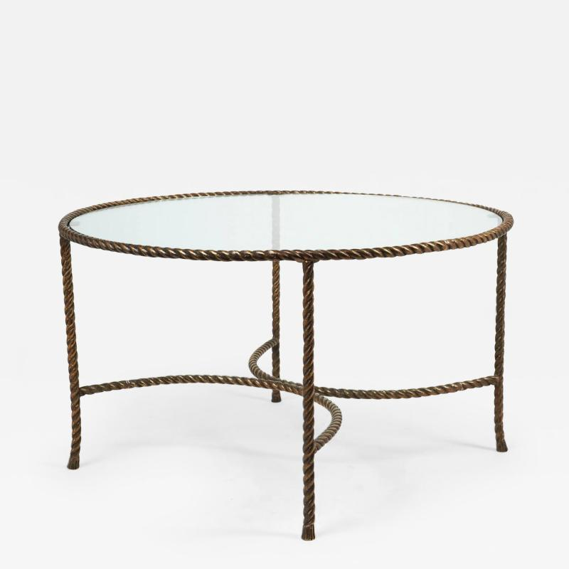 Italian Round Solid Bronze Rope and Tassle Cocktail Table