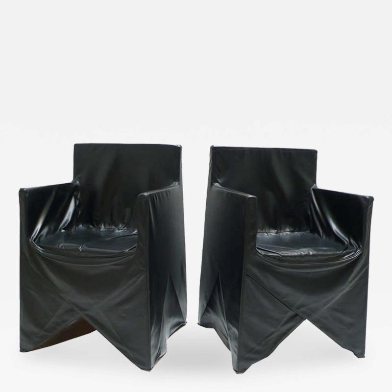 Italian School Black Leather Chairs