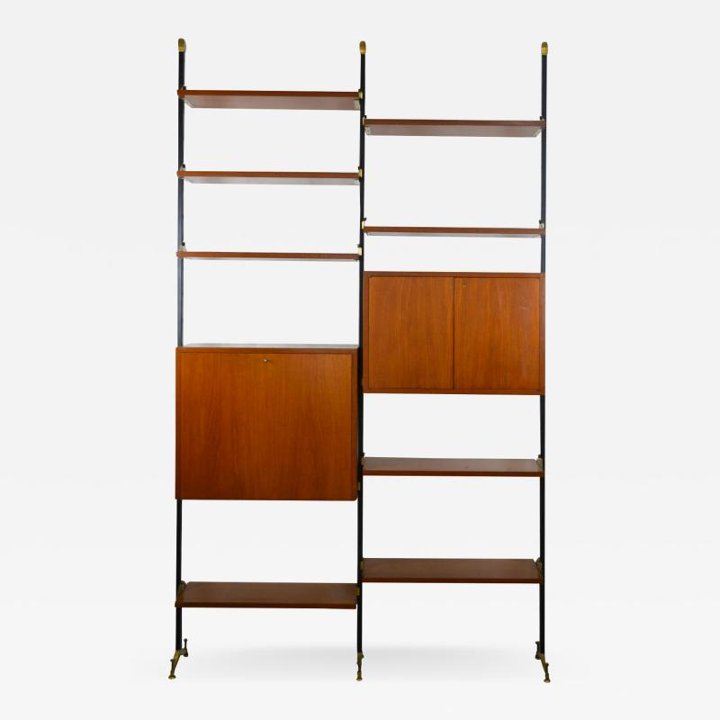 Italian School Bookcase with Shelves and Cabinets in Wood and Brass Italian School