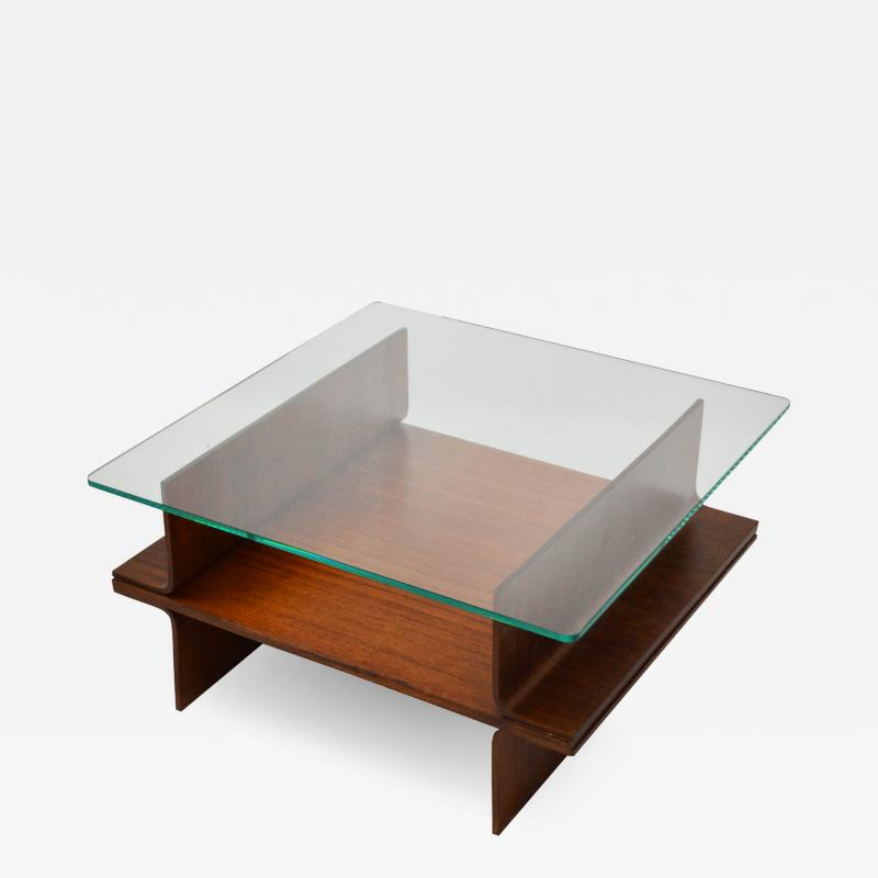 Italian School Coffee Table In Curved Wood And Glass designed in 60s Italian School