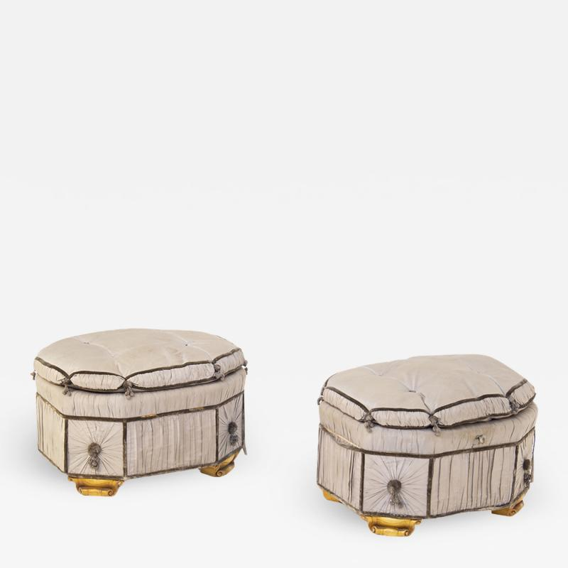 Italian School Pouf Italian Gray Containers in Gilded Wood and Silk early 20th Century