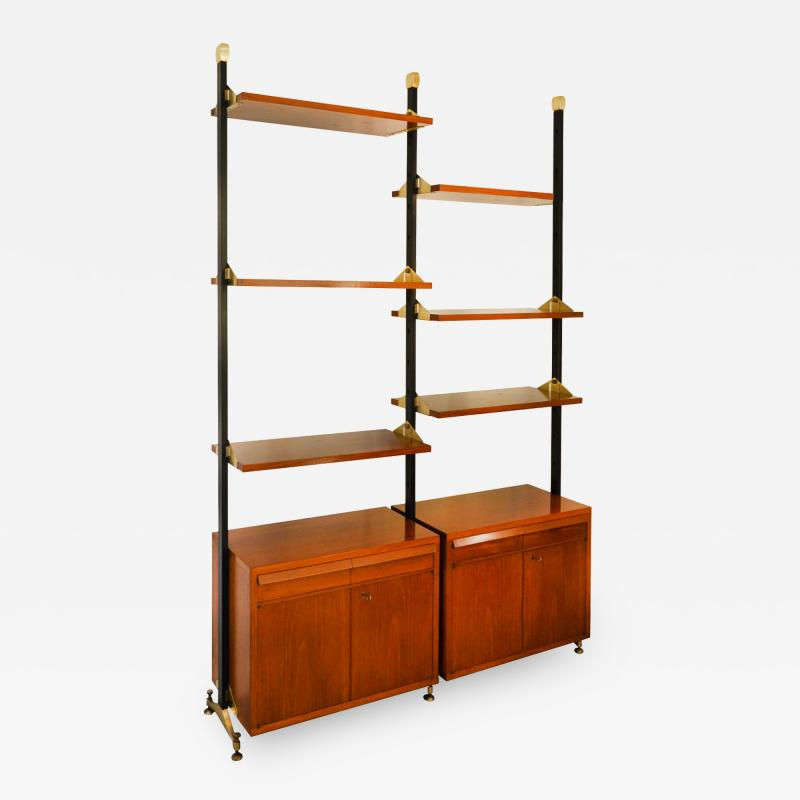 Italian School Wood And Metal Bookcase With Shelves And cabinets