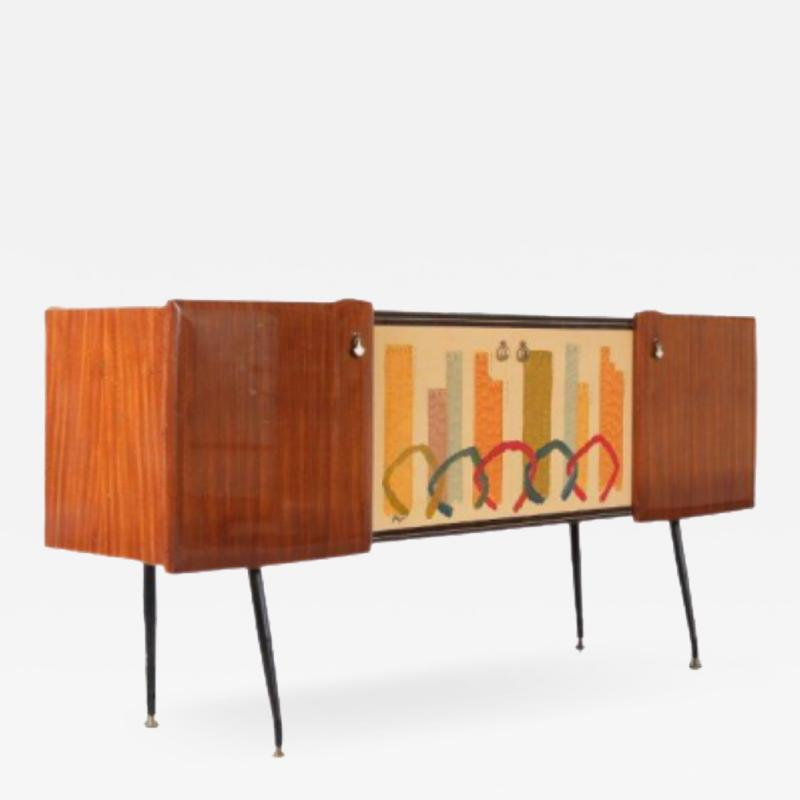 Italian Sideboard with Signed Painting on the Doors 1950