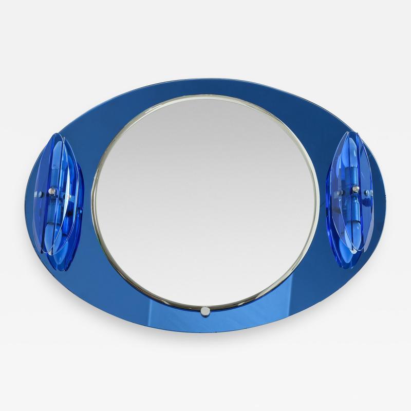 Italian Veca cobalt mirror with two lights 1970