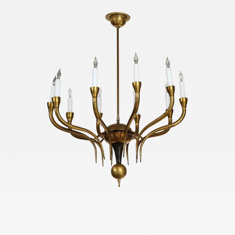Italian Vintage Brass Ten Light Chandelier