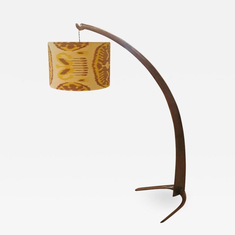 Italian Walnut Tusk Floor Lamp 1940s