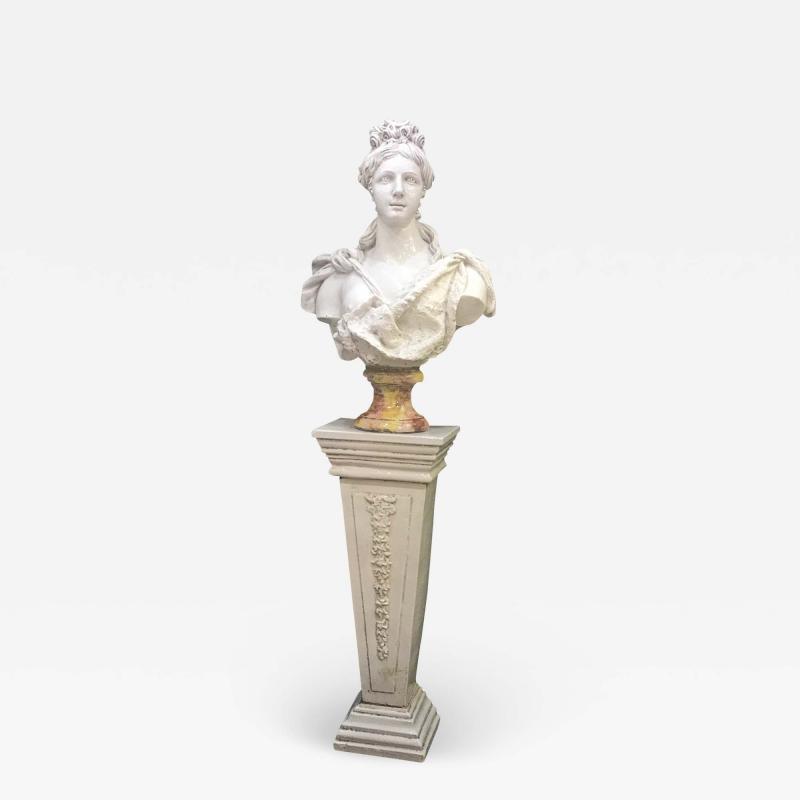 Italian White Lead Glazed Terracotta Sculpture of Selene Goddess of the Moon