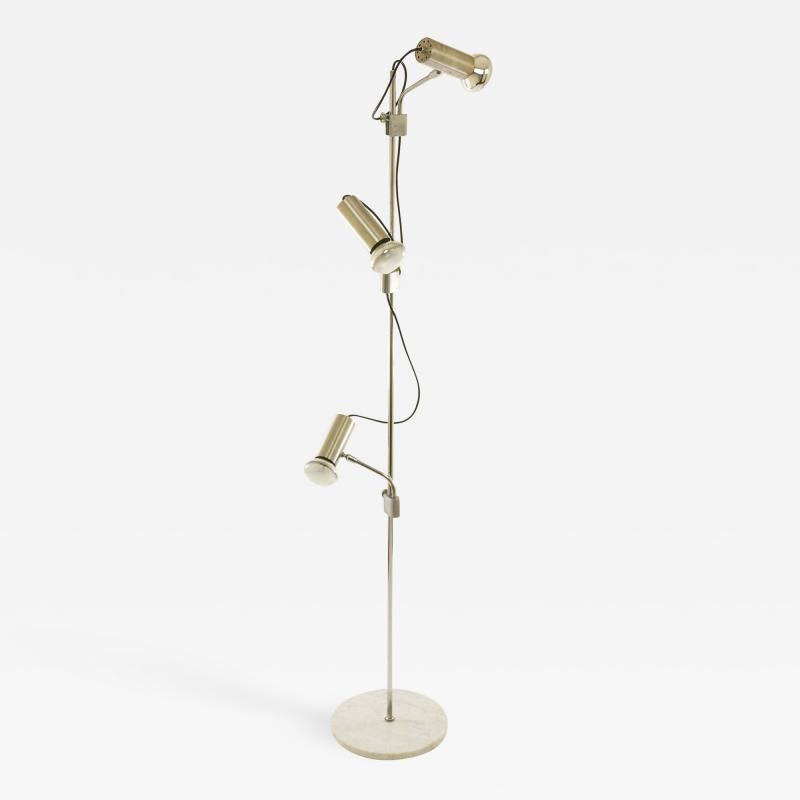 Italian chrome floor lamp with three spots and a marble base 1970s