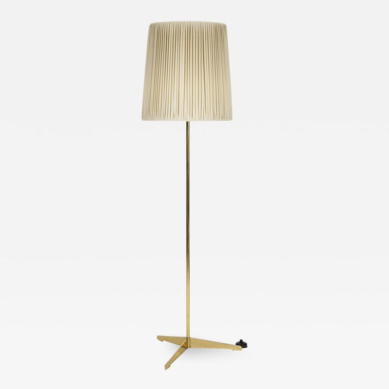 Italian high end floor lamp made of brass with silk shade 50s