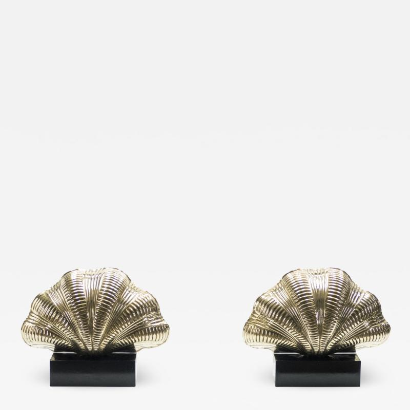 Italian mid century Solid Brass Scallop table lamps 1960s