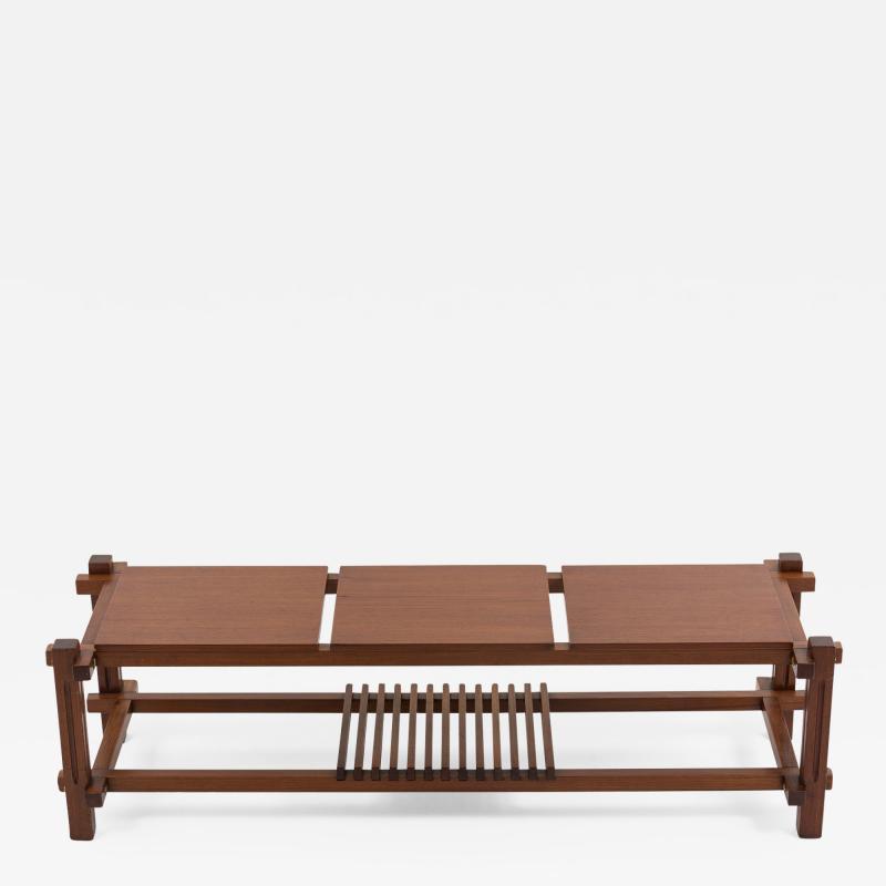 Italian modular table in solid teck and brass circa 1960