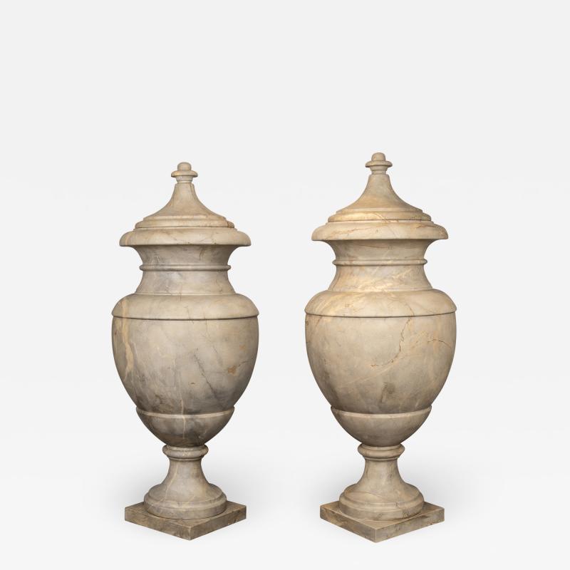 Italian pair of Neoclassical Marble Vases Serracolin Versailles