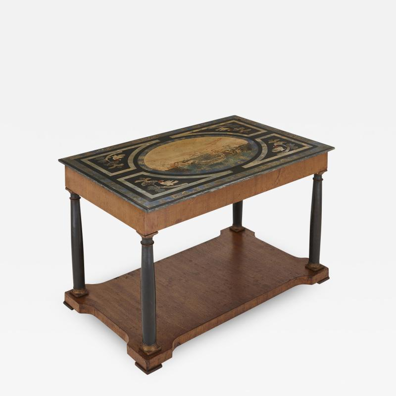 Italian partly ebonised walnut coffee table with scagliola top