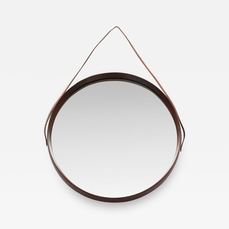 Italian round mirror mahogany leather 60s