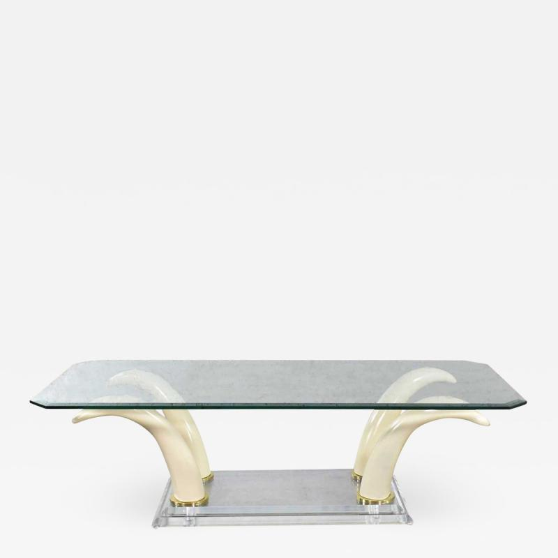 Italo Valenti Lucite acrylic glass faux tusk coffee cocktail table after maison jansen