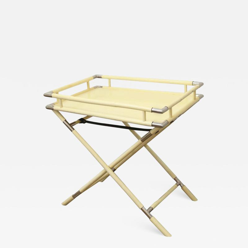 Ivory Lacquer Chrome Folding Bar Tray Table