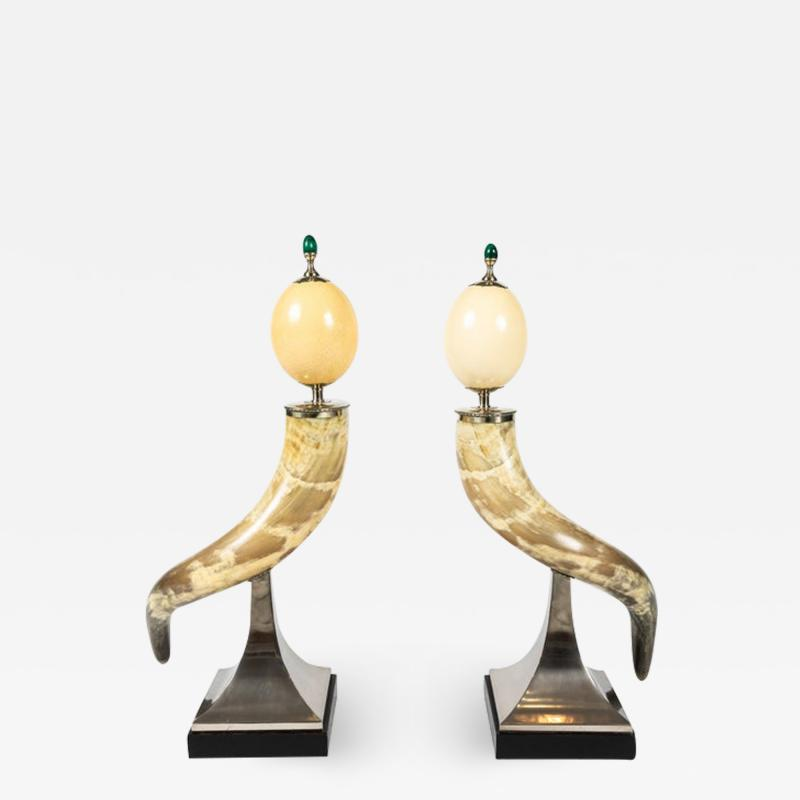 J Antony Redmile Pair of Decorative Horn and Ostrich Egg Garnitures by Antony Redmile