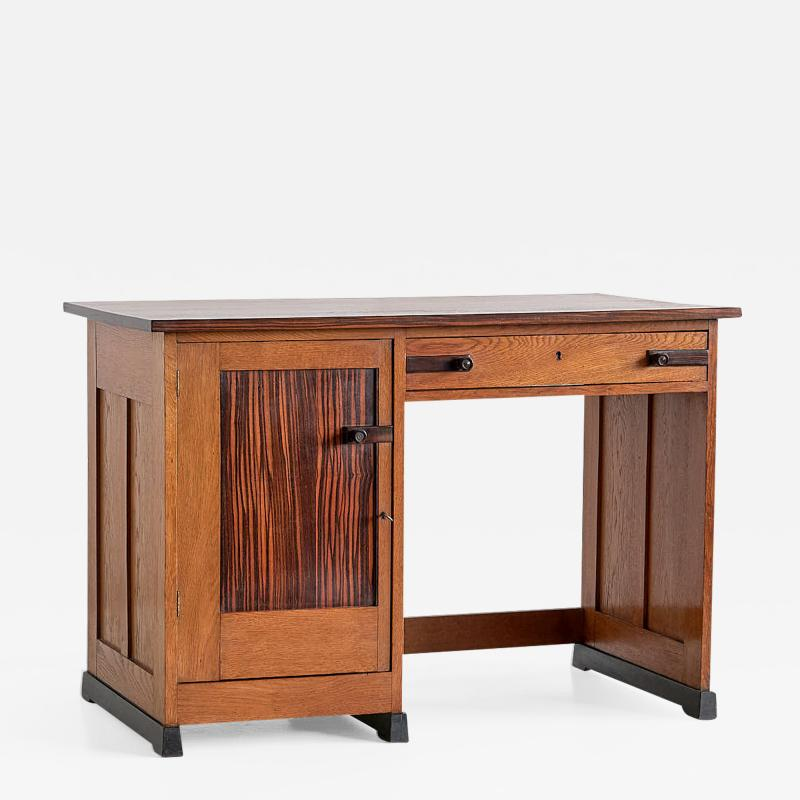 J J Buskes J J Buskes Art Deco Desk in Oak and Macassar Ebony Netherlands 1925