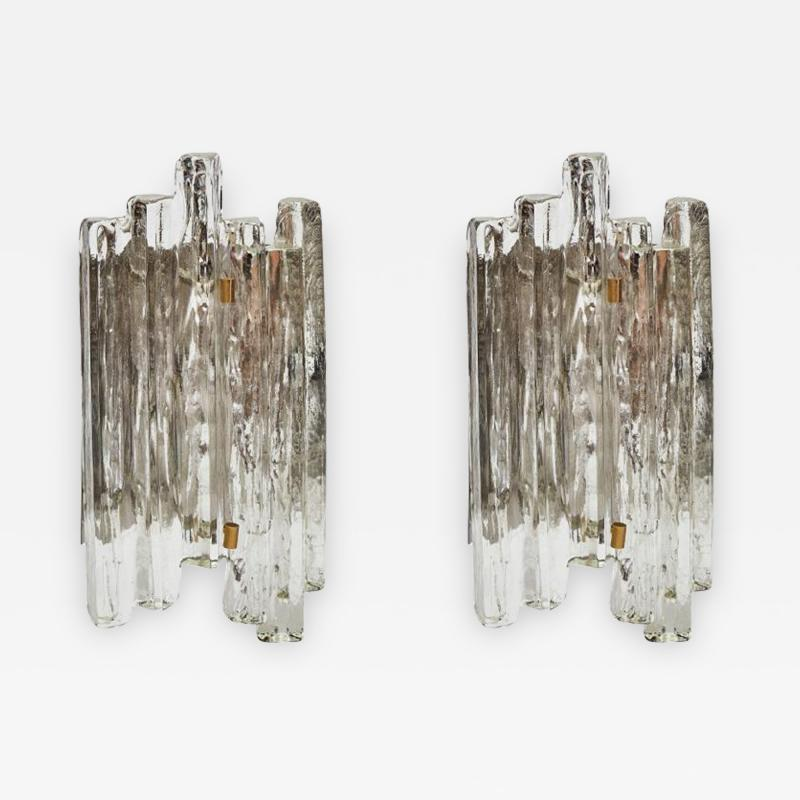 J T Kalmar Important Set of J T Kalmar Glass Wall Sconces with Brass Details