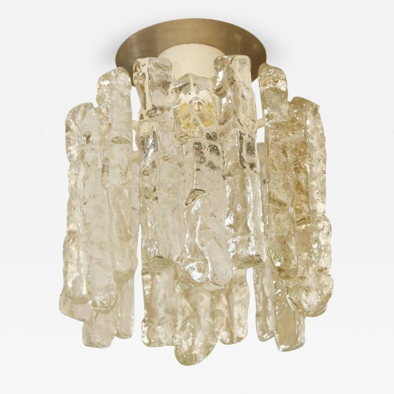 J T Kalmar Petite Kalmar Ice Glass Flush Mounted Pendant