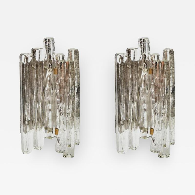 J T Kalmar Set of J T Kalmar Glass Wall Sconces with Brass Details
