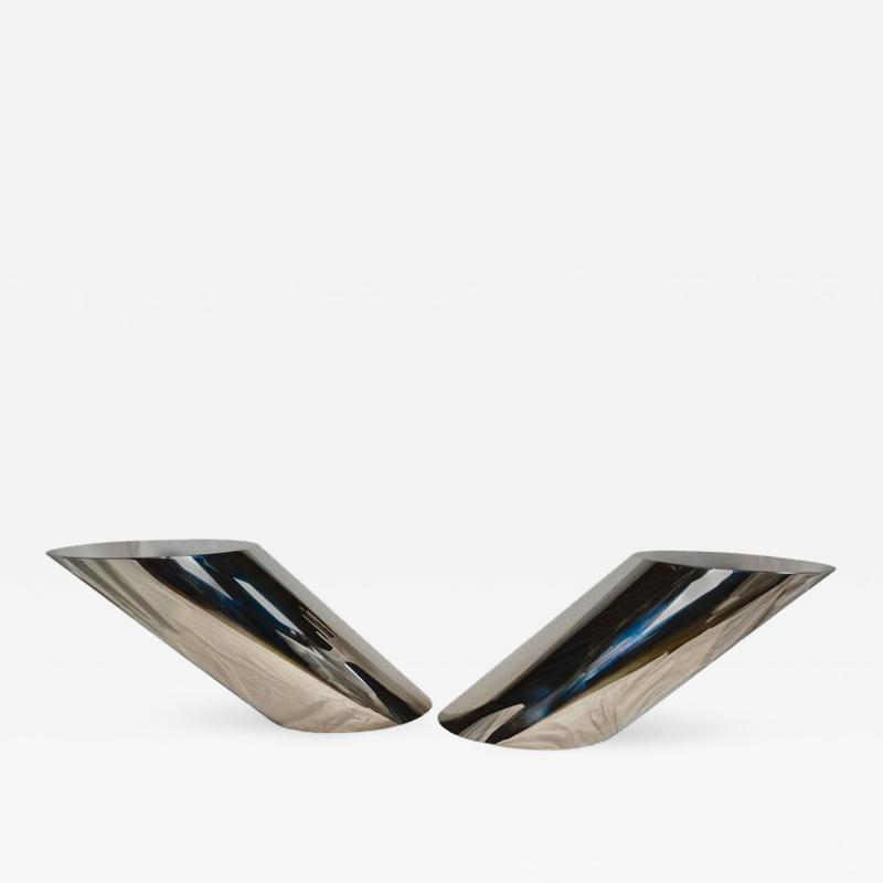 J Wade Beam Pair of Brueton Polished Stainless Steel End Tables J Wade Beam circa 1978
