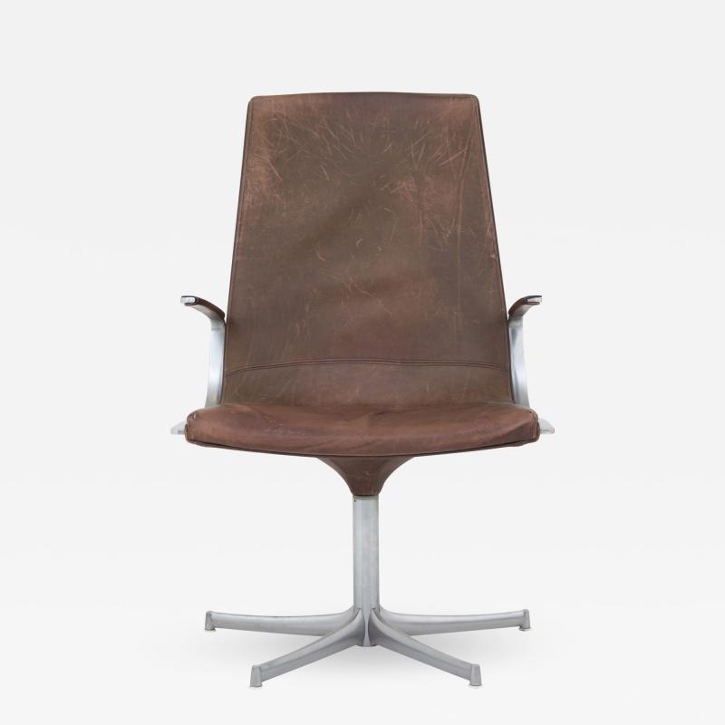 J rgen Kastholm Preben Fabricius Office Chair in Brown Leather