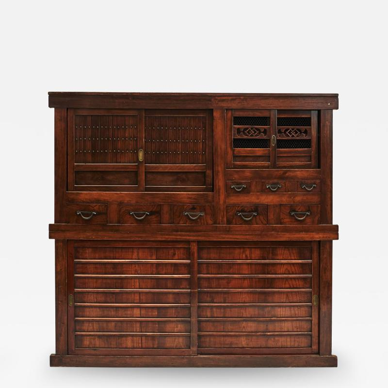 JAPANESE TANSU STORAGE CABINET WITH SLIDING DOORS MEIJI PERIODEN