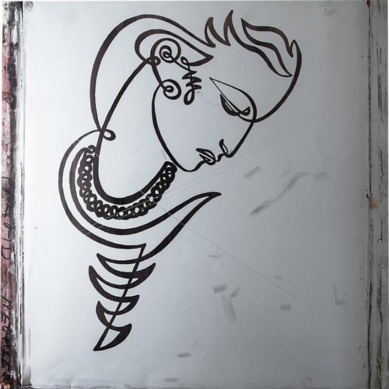 JEAN NEGULESCO JEAN NEGULESCO CONTINUOUS LINE DRAWING ON METAL PLATE