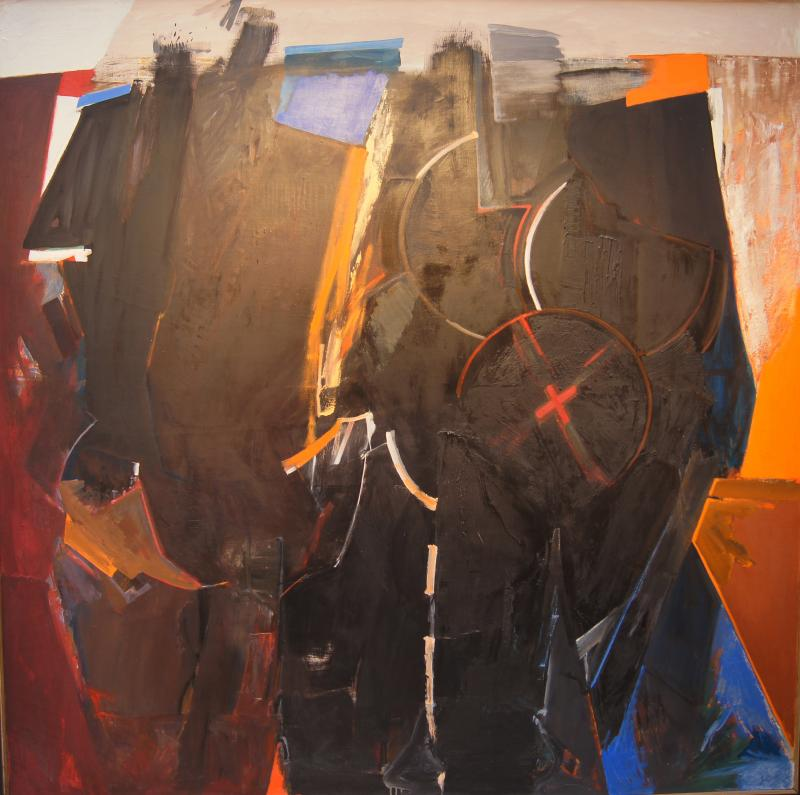 Jack D Wolfe Red X Oil Painting by Jack Wolfe 1962