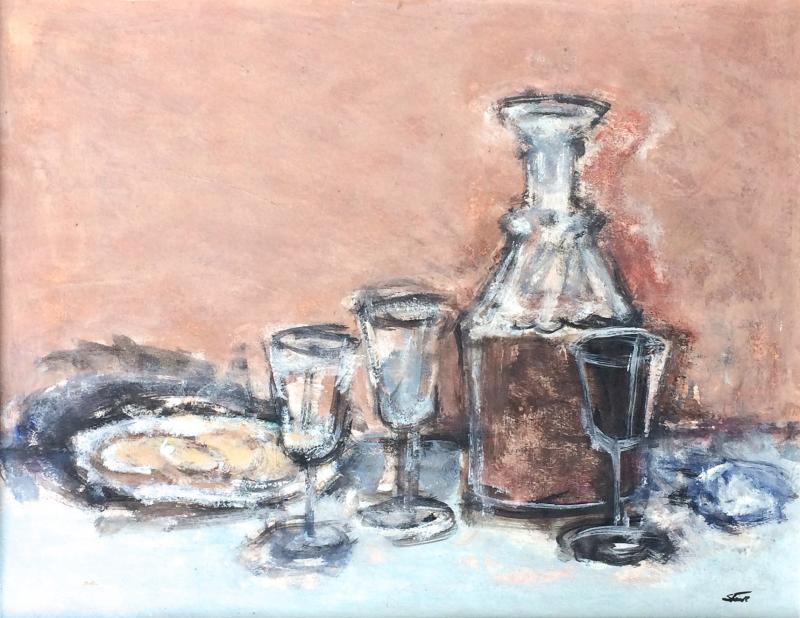 Jack Gage Stark Sherry and Biscuit Mid Century Modern Still Life