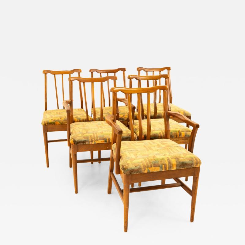 Jack Lenor Larsen Style Mid Century Walnut Dining Chairs Set of 6