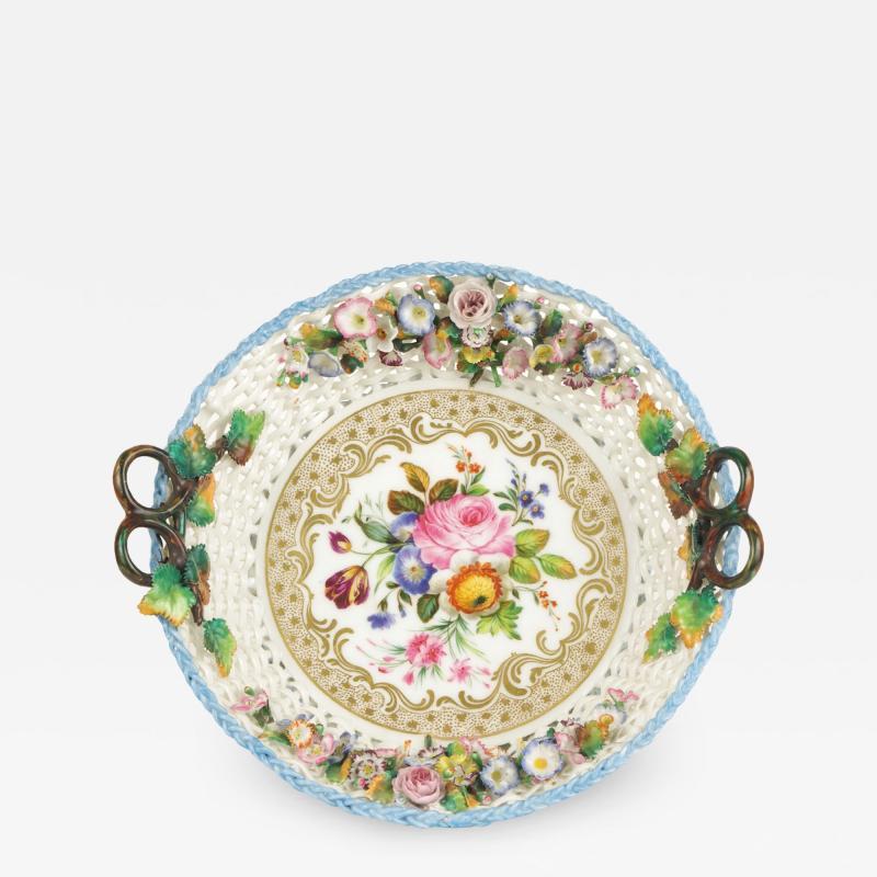 Jacob Petit Old Paris Porcelain Basket by Jacob Petit c 1840