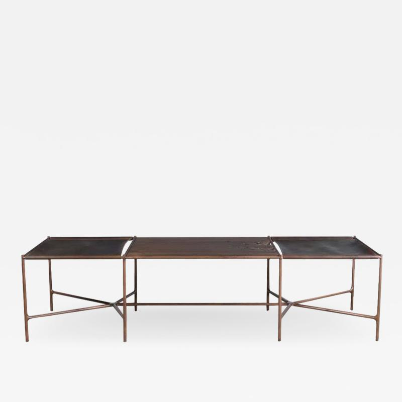 Jacob Wener Web Series Cast Bronze Saddle Leather and Wood Bench by Modern Industry Design
