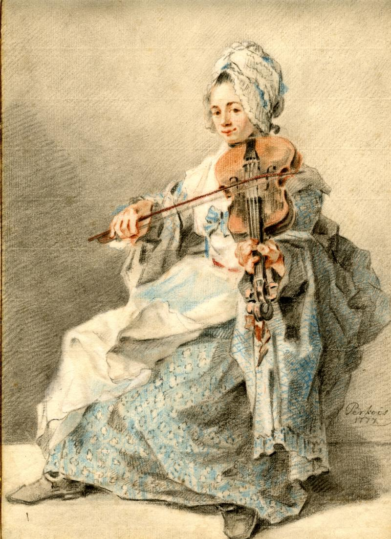 Jacobus Perkois A Young Woman Playing the Viola Signed