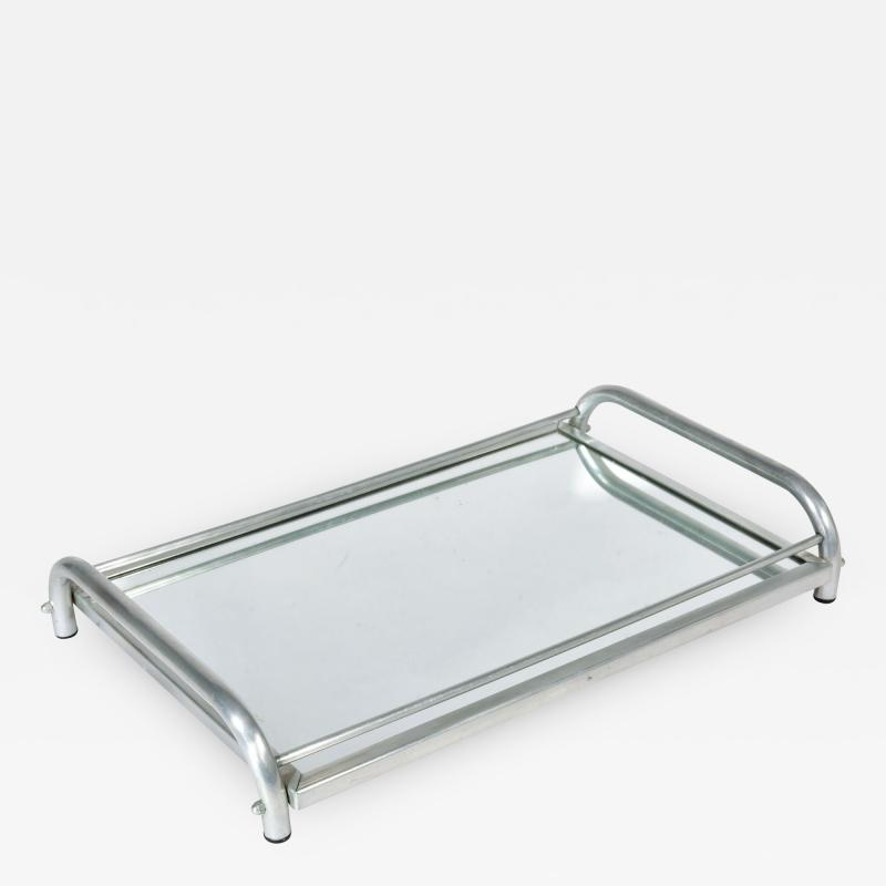 Jacques Adnet 1950s Italian chrome and mirror tray