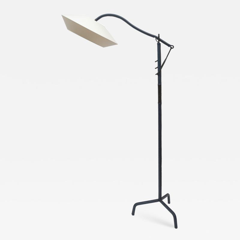 Jacques Adnet 1950s Stitched Leather floor lamp By Jacques Adnet