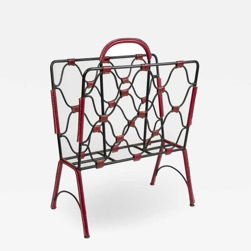 Jacques Adnet 1950s Stitched Leather magazine rack by Jacques Adnet