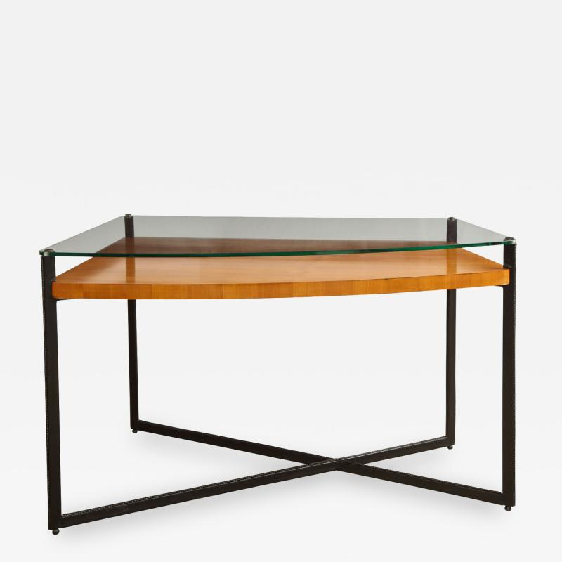 Jacques Adnet Curved Fruitwood Center Table with Glass Top