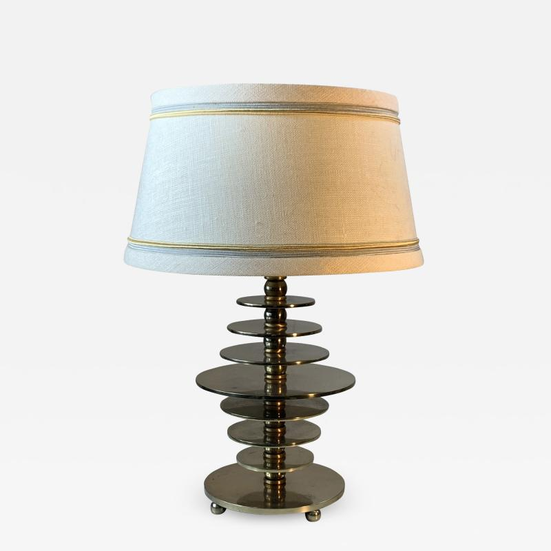 Jacques Adnet FRENCH MODERNIST ART DECO NICKELED BRONZE DISC LAMP