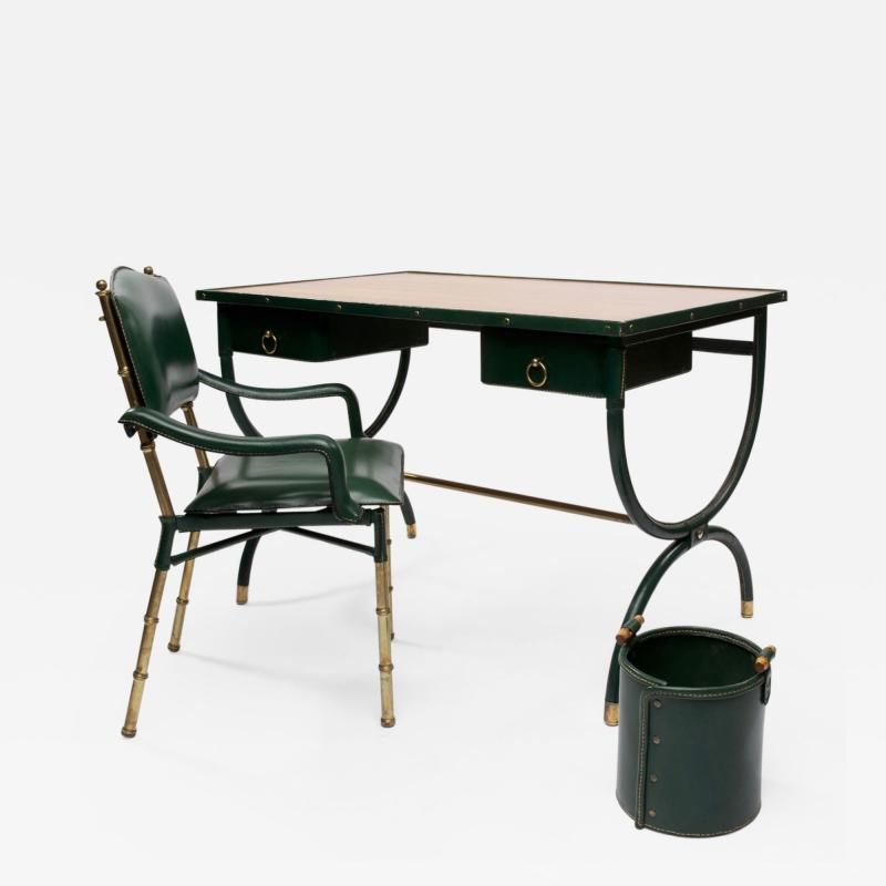 Jacques Adnet French Mid Century desk with armchair and waste paper basket by Jacques Adnet