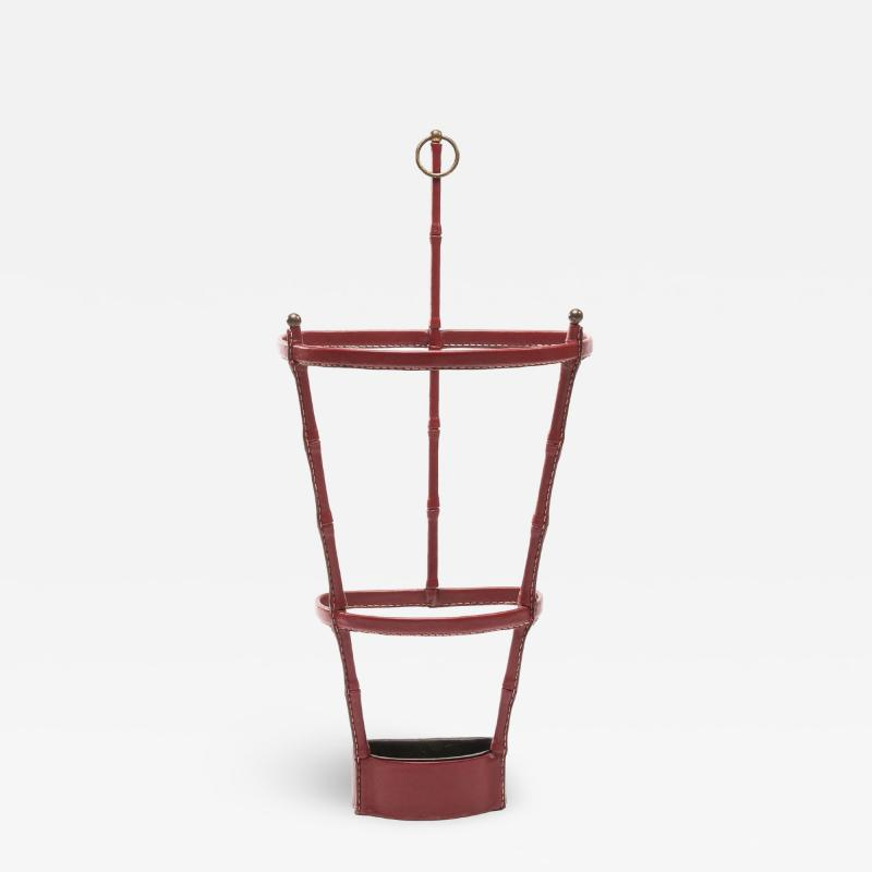 Jacques Adnet French Midcentury Umbrella Stand Jacques Adnet Saddle Stitched Leather