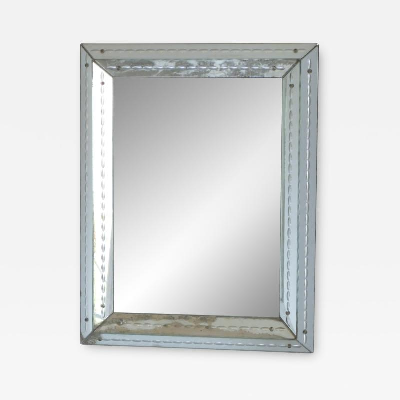 Jacques Adnet French art deco mirror attributed to Jacques Adet 1940s