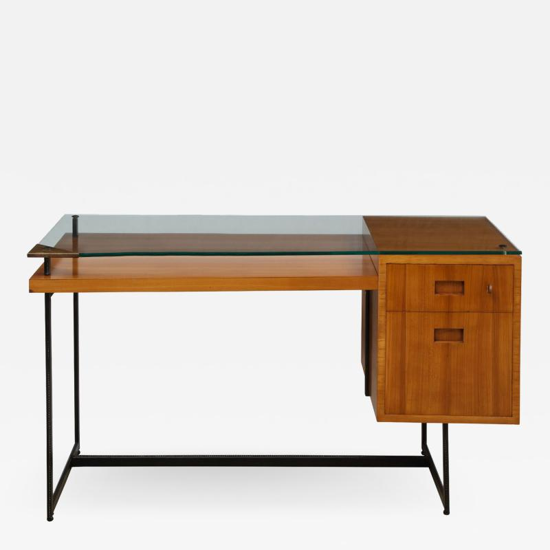 Jacques Adnet Fruitwood desk with glass top