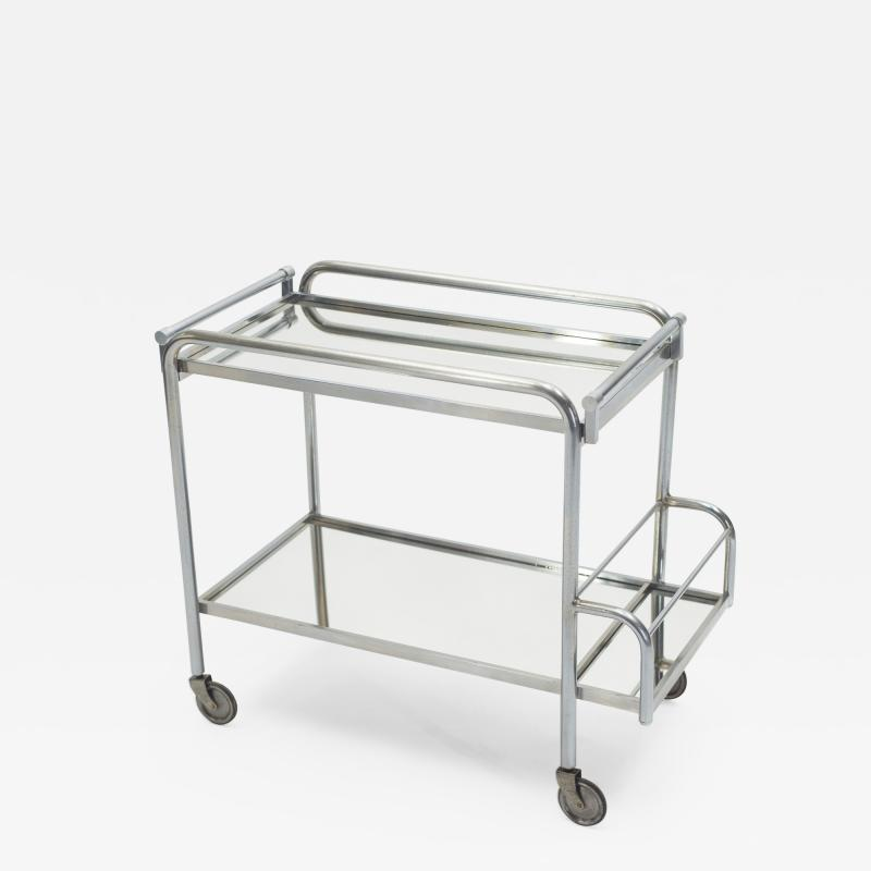 Jacques Adnet Jacques Adnet art deco mirrored bar cart trolley 1930s