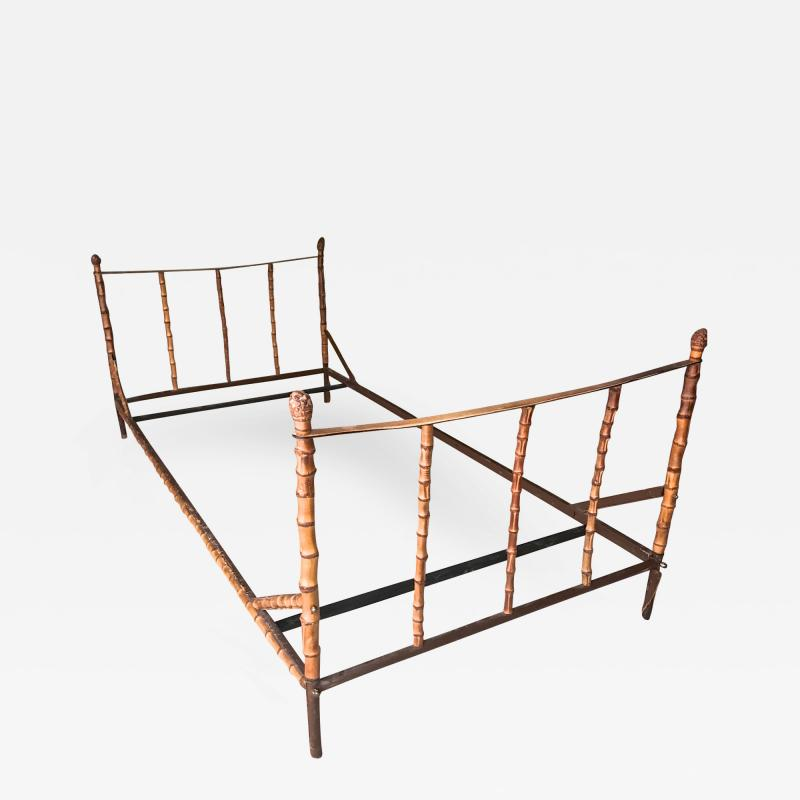Jacques Adnet Jacques Adnet rarest full bamboo and hand stitched leather day bed