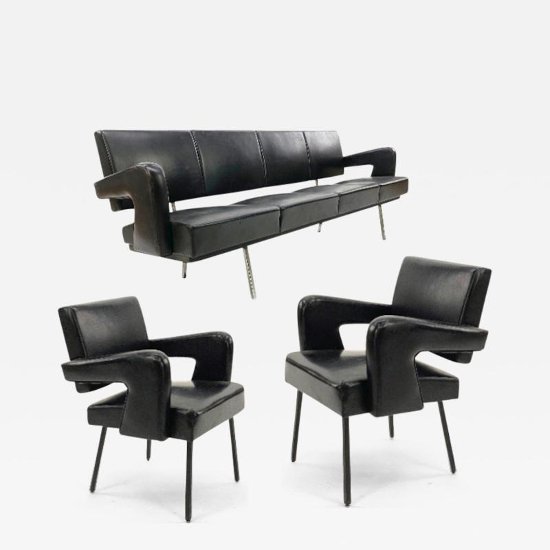 Jacques Adnet Jacques Adnet rarest set of comfy big couch and 2 chairs