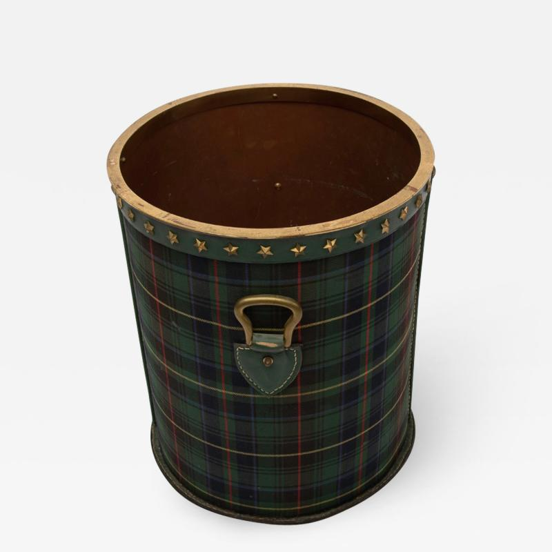 Jacques Adnet Large Wastepaper Basket by Jacques Adnet Steel Tartan Fabric and Leather